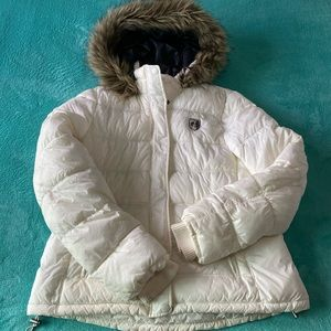 America Eagle White Puffer Jacket with Fo Fur